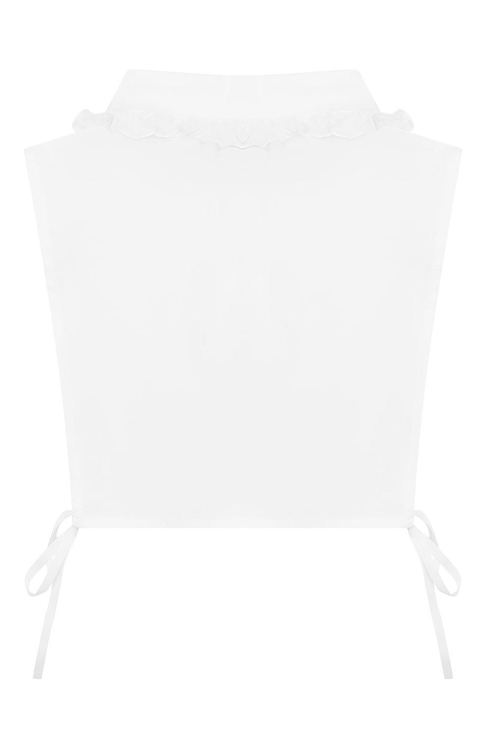 Детский хлопковая манишка ALETTA белого цвета, арт. A9333/4A-8A | Фото 2