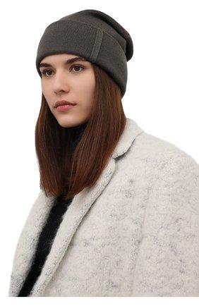 Женская кашемировая шапка BRUNELLO CUCINELLI серого цвета, арт. M12163199P   Фото 2