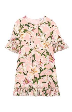Детское платье из вискозы DOLCE & GABBANA светло-розового цвета, арт. L51DR4/FSRLP/2-6 | Фото 1