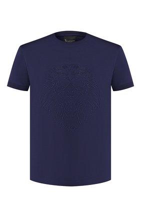 Мужская хлопковая футболка BILLIONAIRE темно-синего цвета, арт. MTK3569   Фото 1