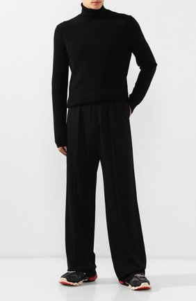 Мужской брюки из смеси вискозы и шерсти BALENCIAGA черного цвета, арт. 583836/TF003 | Фото 2