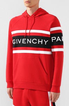 Хлопковое худи Givenchy красный | Фото №3