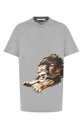 Мужская хлопковая футболка  GIVENCHY серого цвета, арт. BM70ED3002 | Фото 1