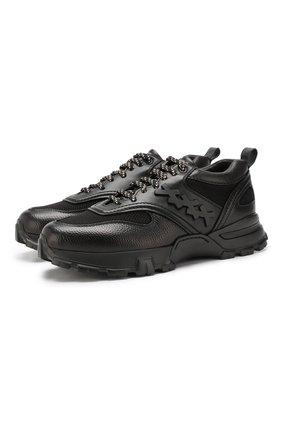 Мужские кожаные кроссовки ZEGNA COUTURE черного цвета, арт. A4255X-LHXFA | Фото 1