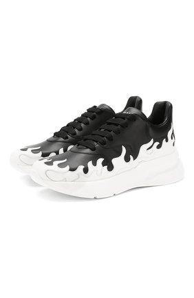 Мужские кожаные кроссовки ALEXANDER MCQUEEN черно-белого цвета, арт. 575421/WHT96 | Фото 1