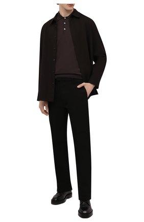 Мужское шерстяное поло CANALI коричневого цвета, арт. C0017/MK00077   Фото 2 (Длина (для топов): Стандартные; Рукава: Длинные; Материал внешний: Шерсть; Кросс-КТ: Трикотаж; Застежка: Пуговицы; Статус проверки: Проверена категория)