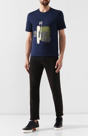 Мужская хлопковая футболка Z ZEGNA синего цвета, арт. VT372/ZZ630G   Фото 2