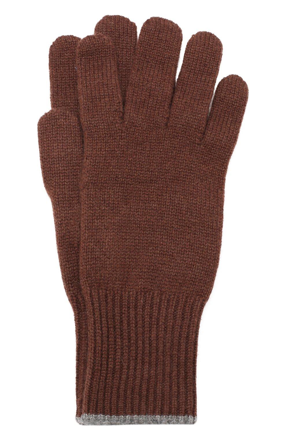 Мужские кашемировые перчатки BRUNELLO CUCINELLI темно-коричневого цвета, арт. M2293118   Фото 1
