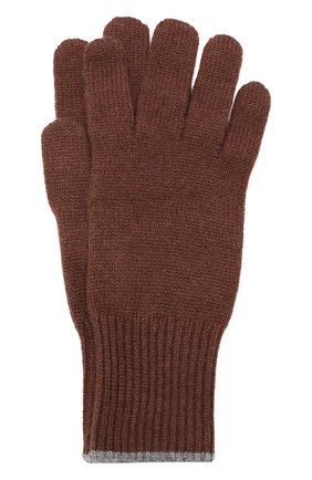 Мужские кашемировые перчатки BRUNELLO CUCINELLI темно-коричневого цвета, арт. M2293118 | Фото 1