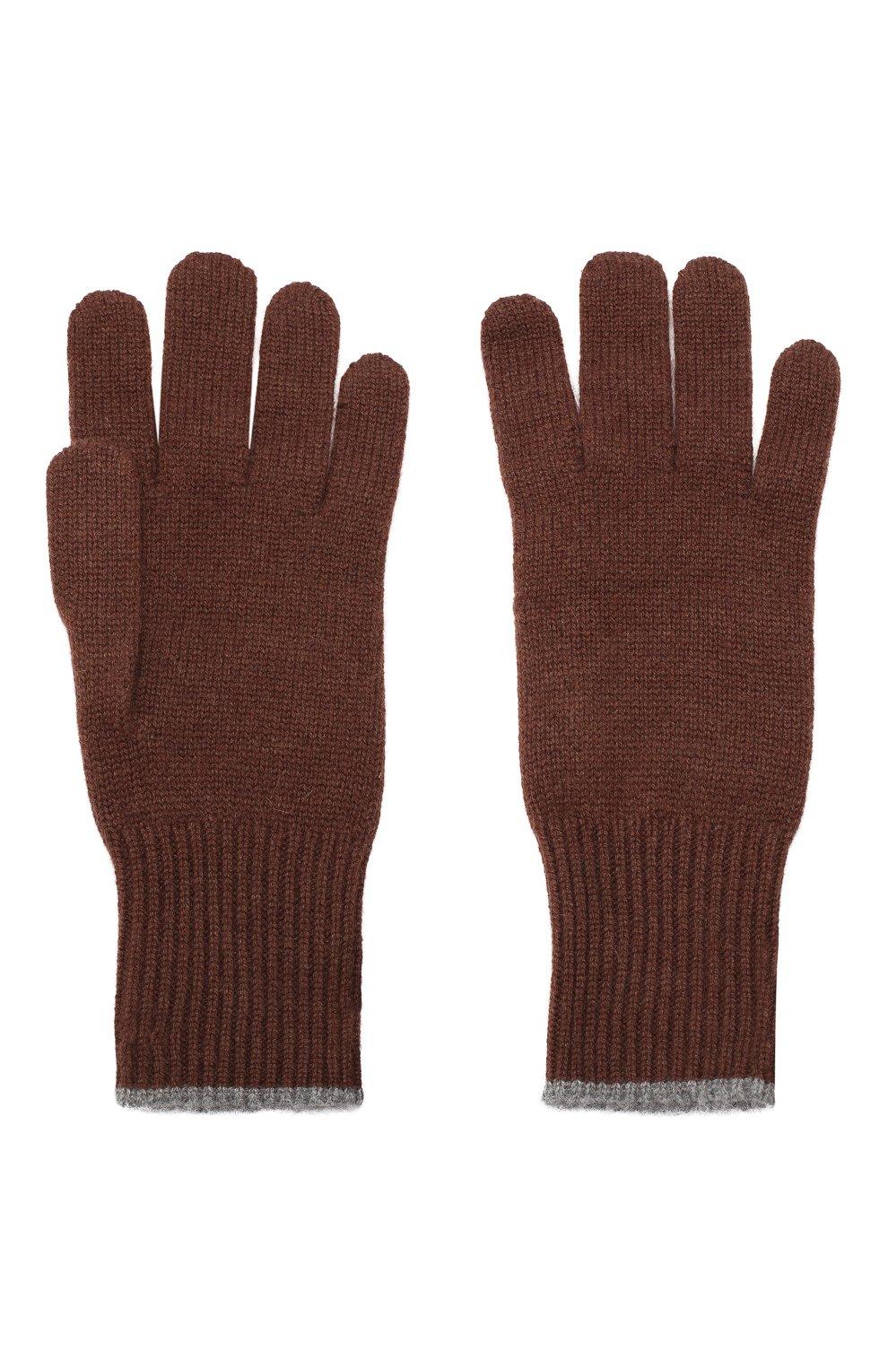 Мужские кашемировые перчатки BRUNELLO CUCINELLI темно-коричневого цвета, арт. M2293118   Фото 2