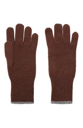 Мужские кашемировые перчатки BRUNELLO CUCINELLI темно-коричневого цвета, арт. M2293118 | Фото 2