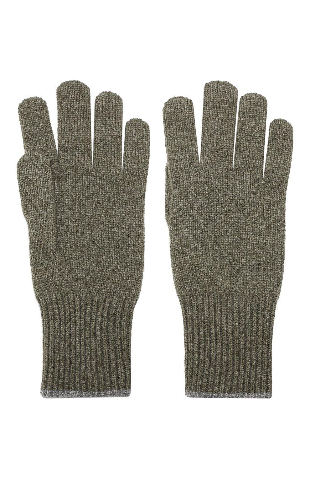 Мужские кашемировые перчатки BRUNELLO CUCINELLI хаки цвета, арт. M2293118 | Фото 2
