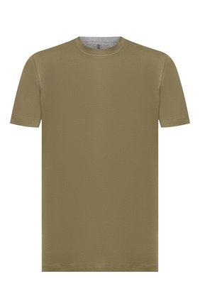 Мужская хлопковая футболка BRUNELLO CUCINELLI хаки цвета, арт. M0T617423 | Фото 1