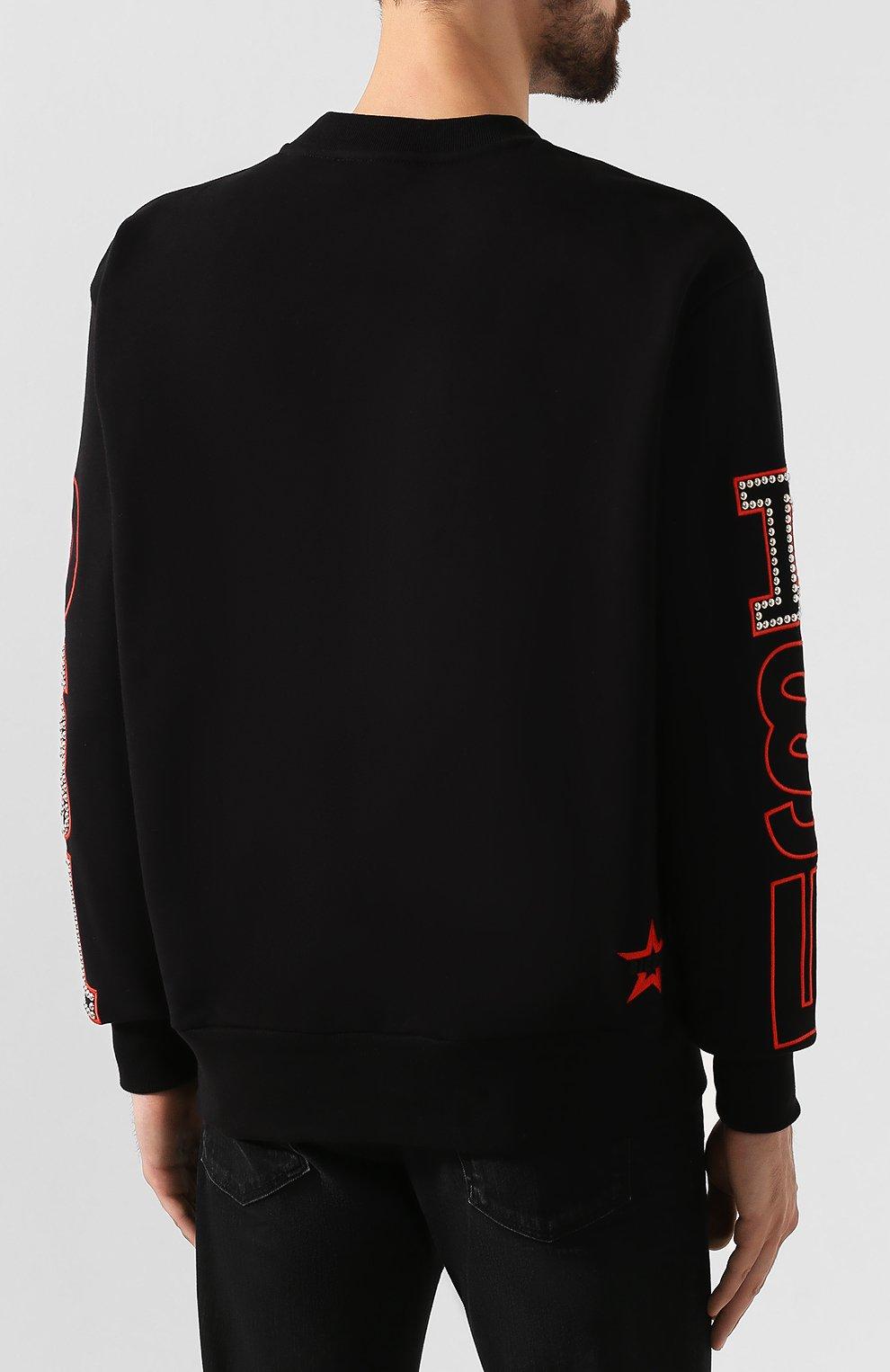 Хлопковый свитшот Diesel черный   Фото №4