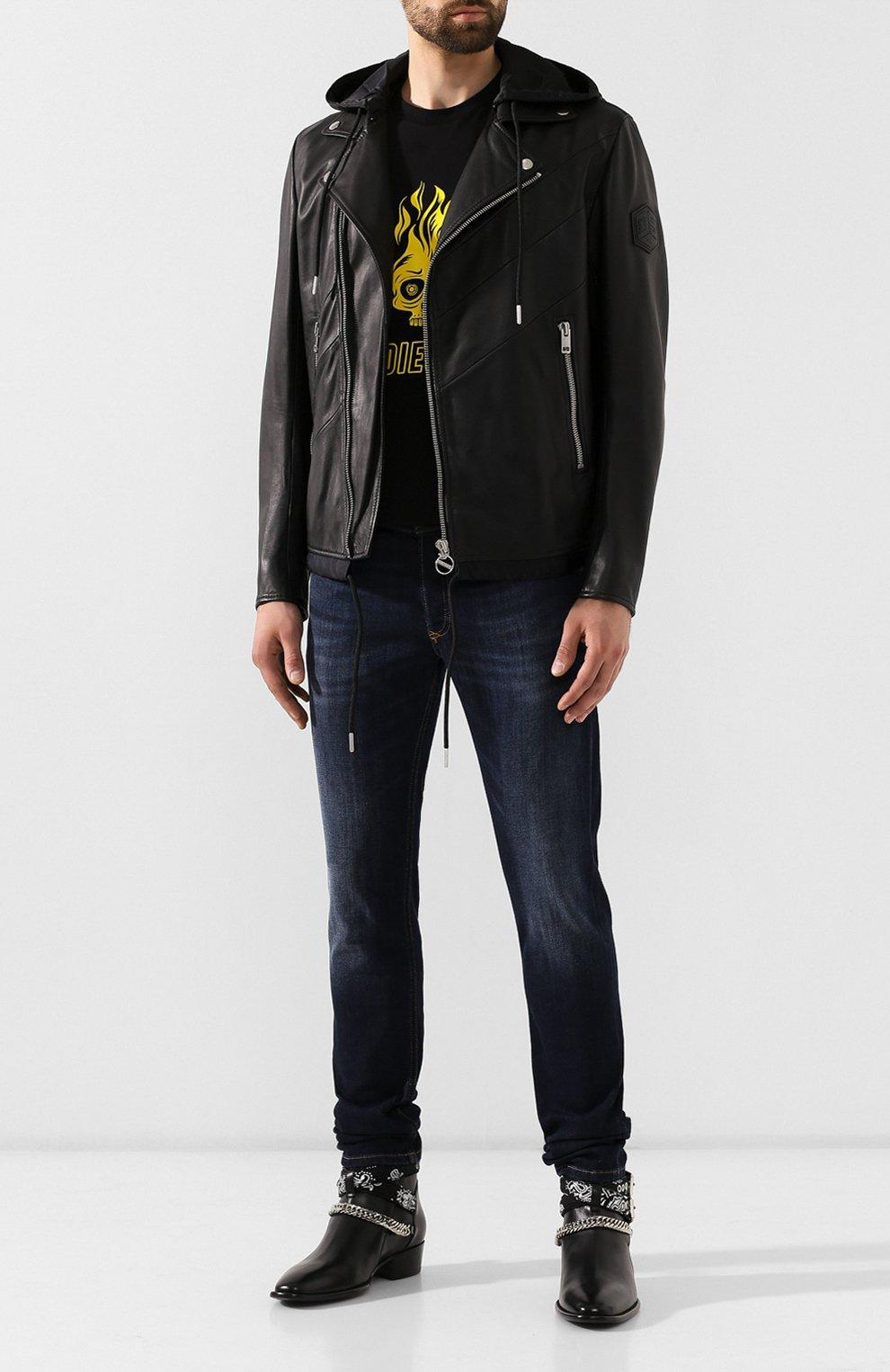 Мужская кожаная куртка DIESEL черного цвета, арт. 00SUDC/0JAUW | Фото 2