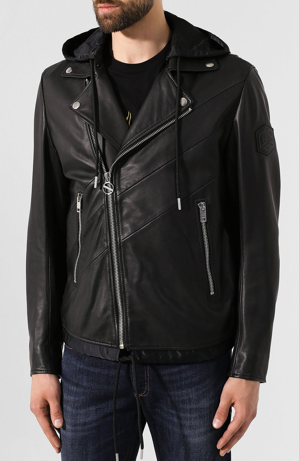 Мужская кожаная куртка DIESEL черного цвета, арт. 00SUDC/0JAUW | Фото 3