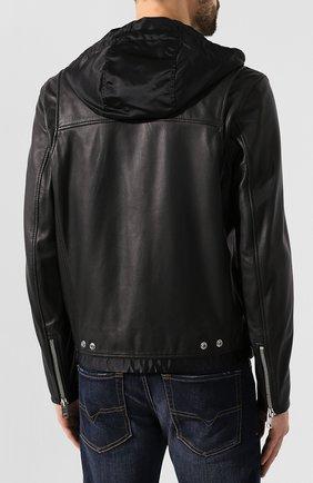 Мужская кожаная куртка DIESEL черного цвета, арт. 00SUDC/0JAUW | Фото 4
