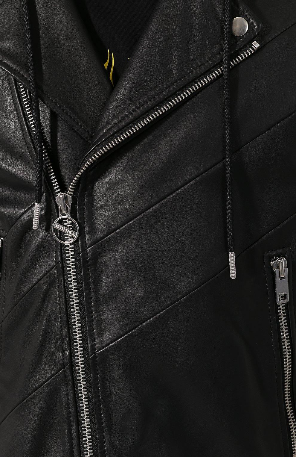 Мужская кожаная куртка DIESEL черного цвета, арт. 00SUDC/0JAUW | Фото 5
