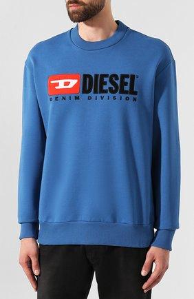 Хлопковый свитшот с принтом Diesel синий   Фото №3