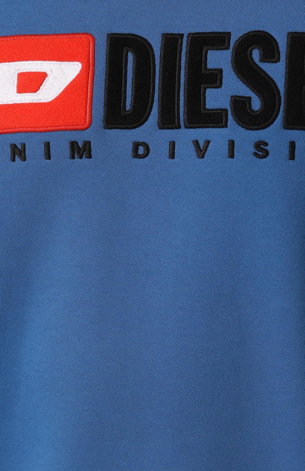 Хлопковый свитшот с принтом Diesel синий   Фото №5