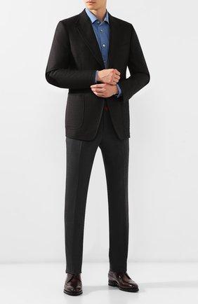 Мужской кожаные дерби KITON бордового цвета, арт. USSBIDAN00101 | Фото 2