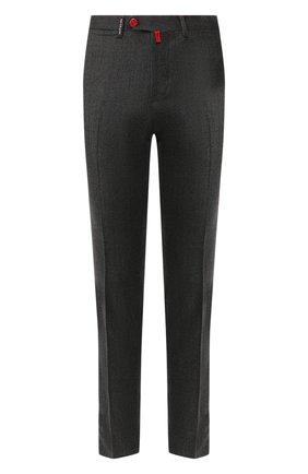 Мужской шерстяные брюки KITON темно-серого цвета, арт. UFPP79K01S48 | Фото 1