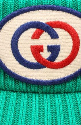 Женский шерстяной козырек GUCCI зеленого цвета, арт. 577825/3GD55 | Фото 3