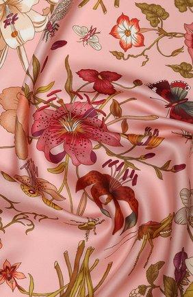 Женский шелковый платок GUCCI розового цвета, арт. 577840/3G001 | Фото 2