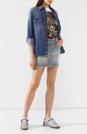 Женские кожаные кеды sl24 SAINT LAURENT серебряного цвета, арт. 558255/08D10 | Фото 2