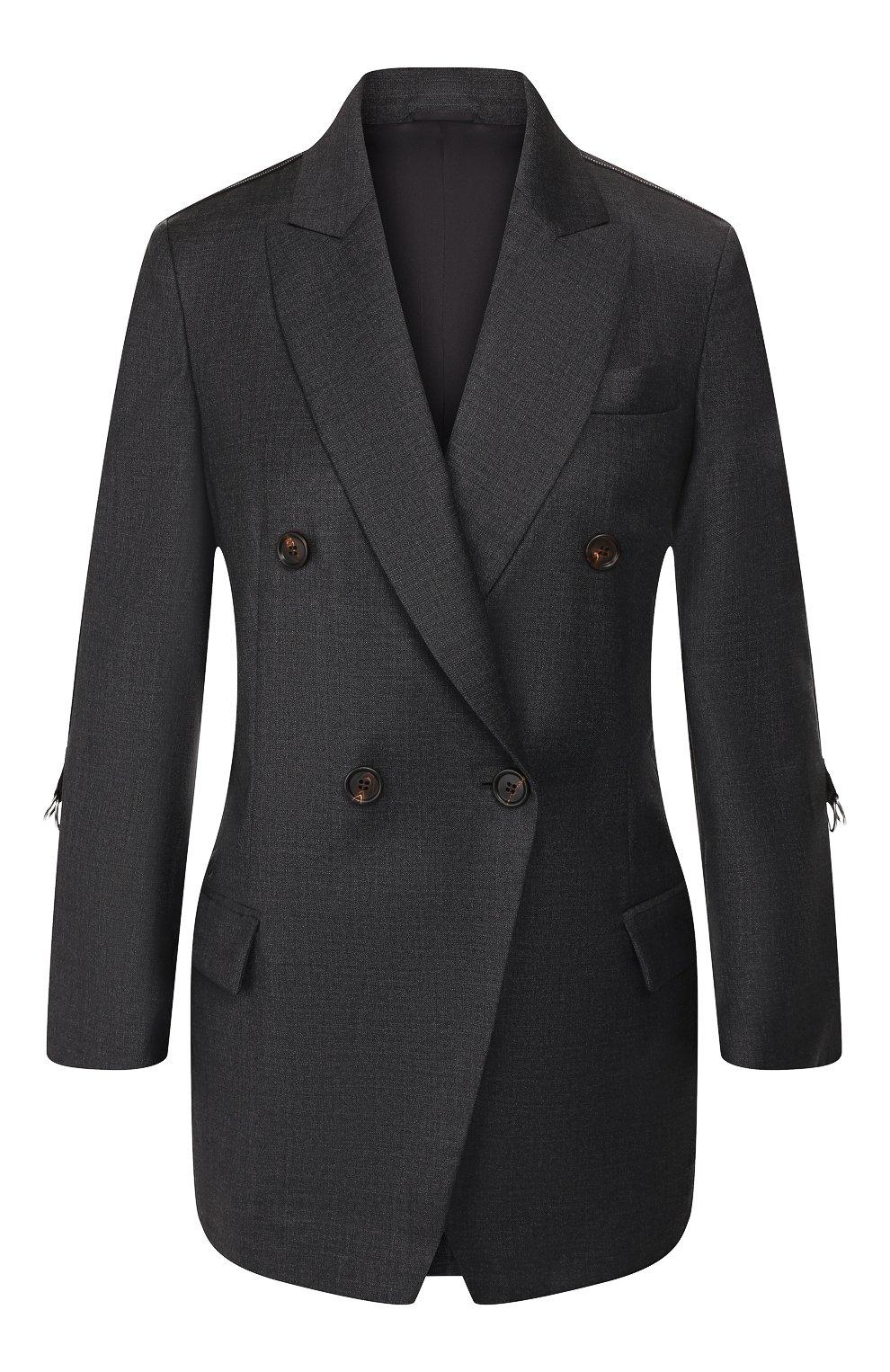 Женский шерстяной жакет BRUNELLO CUCINELLI серого цвета, арт. M031P8820   Фото 1