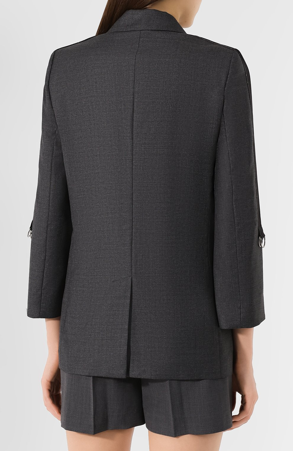 Женский шерстяной жакет BRUNELLO CUCINELLI серого цвета, арт. M031P8820   Фото 4
