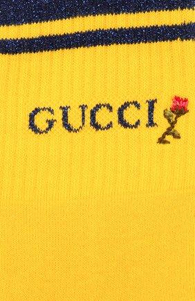 Женские хлопковые носки GUCCI желтого цвета, арт. 579316/3GD70 | Фото 2