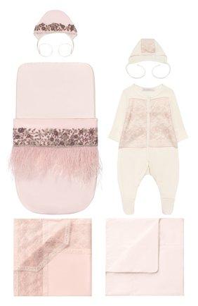 Комплект на выписку из шелка Розовый фламинго | Фото №1