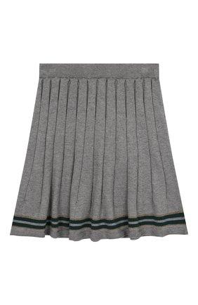 Детская юбка из хлопка и кашемира ALETTA серого цвета, арт. AKF999453/4A-8A | Фото 2
