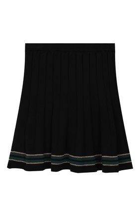 Детская юбка из хлопка и кашемира ALETTA темно-синего цвета, арт. AKF999453/9A-16A | Фото 2