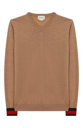 Детский шерстяной пуловер GUCCI бежевого цвета, арт. 418774/X1284 | Фото 1