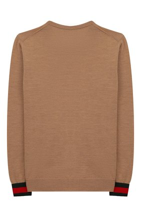Детский шерстяной пуловер GUCCI бежевого цвета, арт. 418774/X1284 | Фото 2
