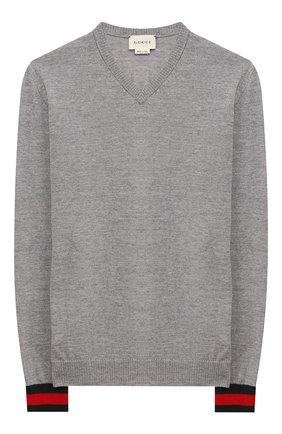 Детский шерстяной пуловер GUCCI серого цвета, арт. 418774/X1284 | Фото 1