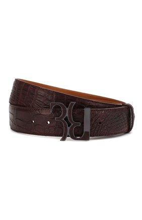 Мужской кожаный ремень BILLIONAIRE коричневого цвета, арт. MVA0436 | Фото 1