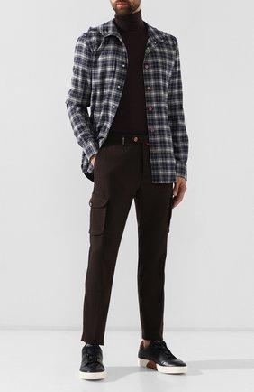Мужские кожаные кеды ZEGNA COUTURE темно-синего цвета, арт. A3068X-LHSPT | Фото 2