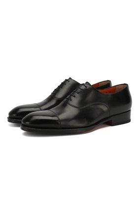 Мужские кожаные оксфорды SANTONI черного цвета, арт. MCCR12474JJ2I0BRN01 | Фото 1