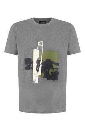 Мужская хлопковая футболка Z ZEGNA серого цвета, арт. VT372/ZZ630G   Фото 1