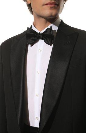 Мужской галстук-бабочка из хлопка и шелка BRUNELLO CUCINELLI черного цвета, арт. MR8130003 | Фото 2