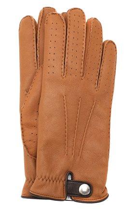 Мужские кожаные перчатки BRUNELLO CUCINELLI светло-коричневого цвета, арт. MPMGN3608 | Фото 1