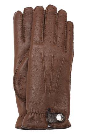 Мужские кожаные перчатки BRUNELLO CUCINELLI темно-коричневого цвета, арт. MPMGN3608 | Фото 1