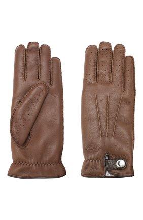 Мужские кожаные перчатки BRUNELLO CUCINELLI темно-коричневого цвета, арт. MPMGN3608 | Фото 2