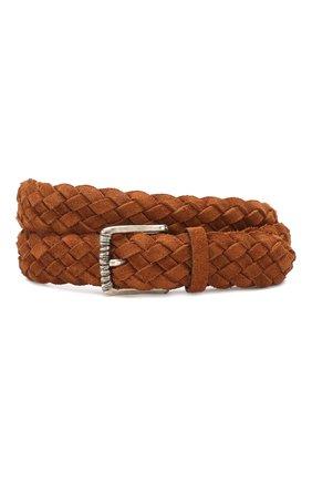 Мужской кожаный ремень BRUNELLO CUCINELLI коричневого цвета, арт. MAUGT338 | Фото 1