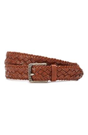 Мужской кожаный ремень BRUNELLO CUCINELLI коричневого цвета, арт. MAUEY338 | Фото 1