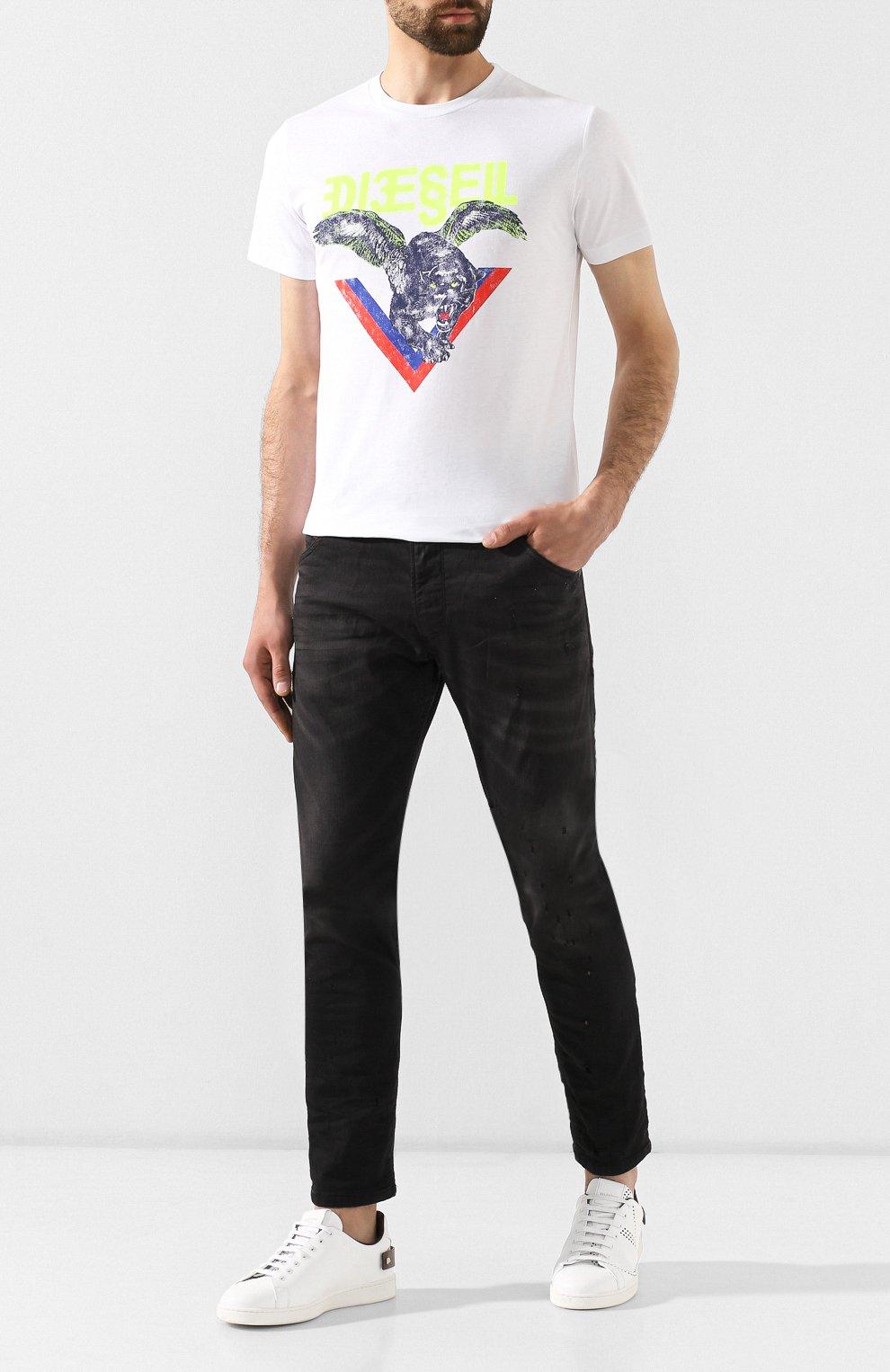 Хлопковая футболка Diesel белая   Фото №2