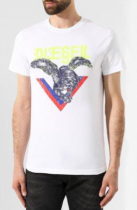 Хлопковая футболка Diesel белая   Фото №3